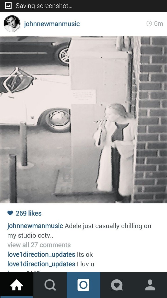 John Newman posts picture of Adele outside music studio